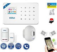 Сигнализация Wi-Fi Kerui W18 комплект с уличным датчиком движения FDHBFD789GFL, КОД: 2380571