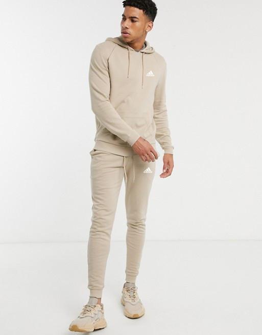 Спортивний костюм кенгуру Adidas (Адідас) чоловічий Бежевий з капюшоном