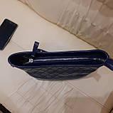 Классическая синяя женская сумочка из натуральной кожи, фото 2