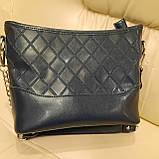 Классическая синяя женская сумочка из натуральной кожи, фото 4