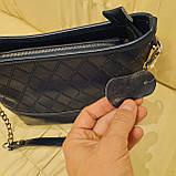 Классическая синяя женская сумочка из натуральной кожи, фото 5