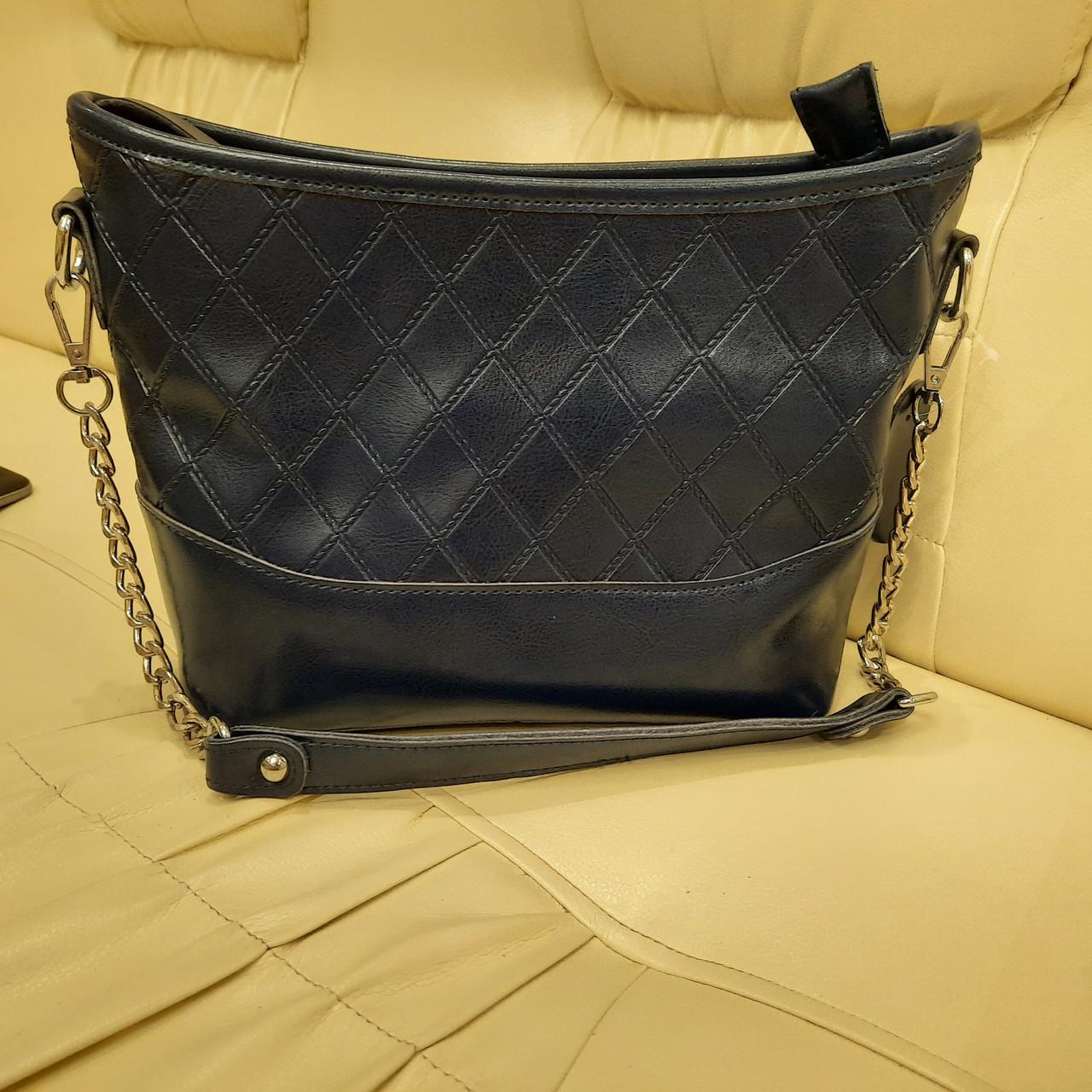 Классическая синяя женская сумочка из натуральной кожи