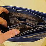 Классическая синяя женская сумочка из натуральной кожи, фото 7