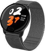Умные часы фитнес браслет Lemfo K9 Metal с измерением сердечного ритма и давления (Черный)