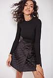 Стильная стеганая юбка с карманами короткая черная (размер 40 - 54 XS - XXL), фото 5