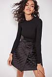 Стильная стеганая юбка с карманами короткая черная (размер 40 - 54 XS - XXL), фото 3