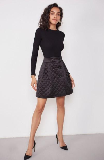 Стильная стеганая юбка с карманами короткая черная (размер 40 - 54 XS - XXL)