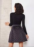 Стильная стеганая юбка с карманами короткая черная (размер 40 - 54 XS - XXL), фото 4