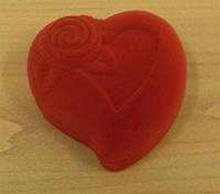 """Футляр """"сердце с розой"""" кольцо/серьги, красный"""