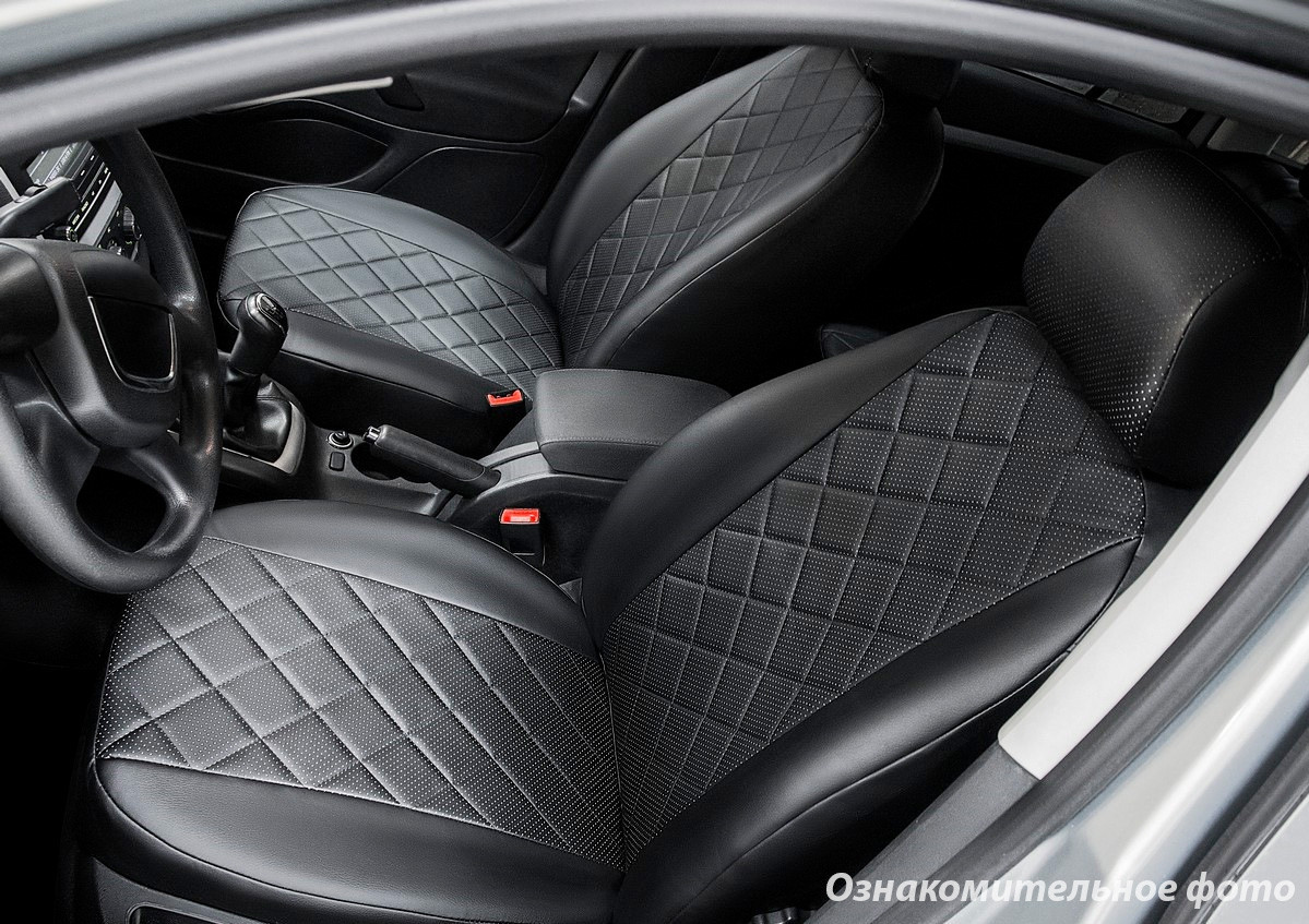 Чехлы салона Mitsubishi Lancer X SD 2012- (без задн.поддержк.) Эко-кожа, Ромб /черные 88909