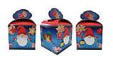 """Новогодняя картонная упаковка для  конфет """"Куб с бантом Джинсовый """" 800 г., фото 2"""