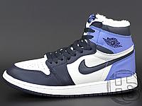 Женские кроссовки Air Jordan 1 Retro High Obsidian UNC White Blue (с мехом) 555088-140 36