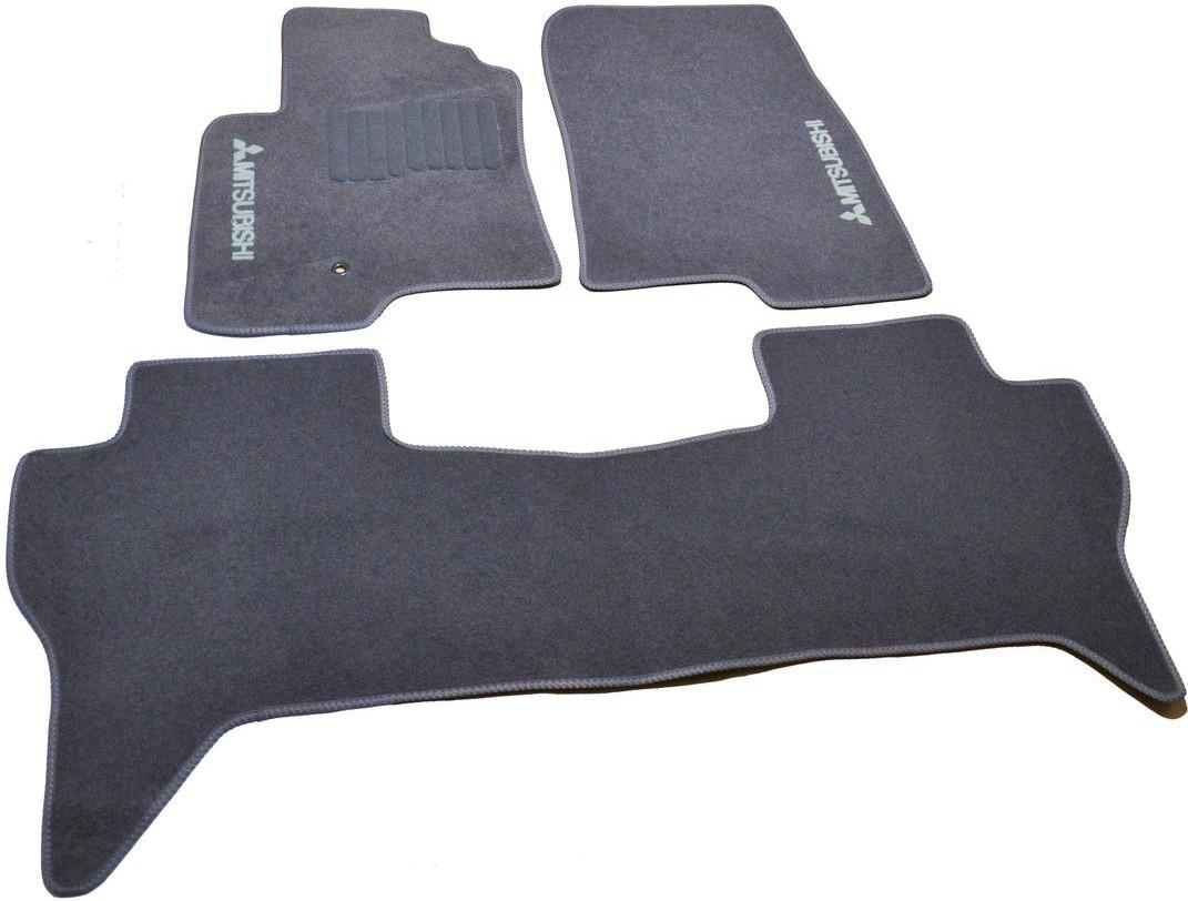 Коврики в салон ворсовые для Mitsubishi Pajero III (1999-2006) 5дв. /Серые,3шт GRCR1399