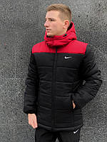 Мужской черно-красный пуховик Nike. Реплика. Мужская одежда