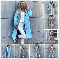 Красивое женское пальто демисезонное кашемировое на пуговицах и с накладным, фото 1