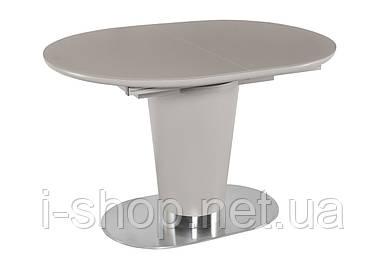 Стол обеденный раскладной стеклянный с МДФ серо-бежевый DAOSUN DT 8102