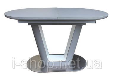 Стол обеденный раскладной стеклянный с МДФ серый сатин DAOSUN DT 8105