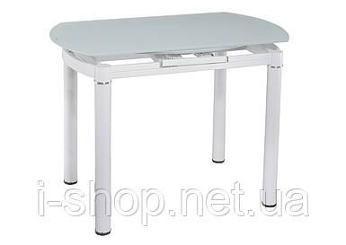 Стол кухонный раскладной стеклянный белый сатин DAOSUN DT 8111