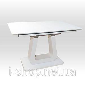 Стол обеденный раскладной стеклянный с МДФ белый дуб мат DAOSUN DT 8104