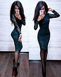 Платье гипюровое облегающее длиной до колен с длинным рукавом (р. S, M, L) 8031732, фото 7