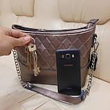 Классическая бронзовая женская сумочка из натуральной кожи, фото 2