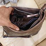 Классическая бронзовая женская сумочка из натуральной кожи, фото 5