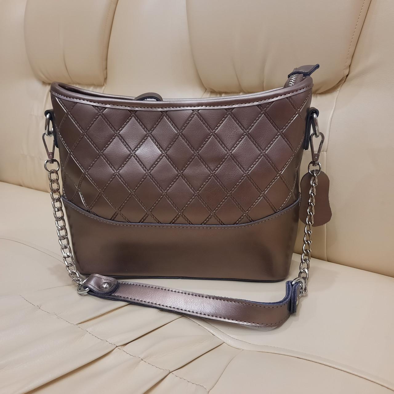 Классическая бронзовая женская сумочка из натуральной кожи