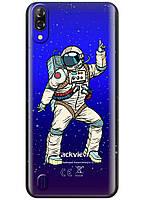 Прозрачный силиконовый чехол iSwag для Blackview A60 с рисунком - Веселый космонавт H613, КОД: 1429078