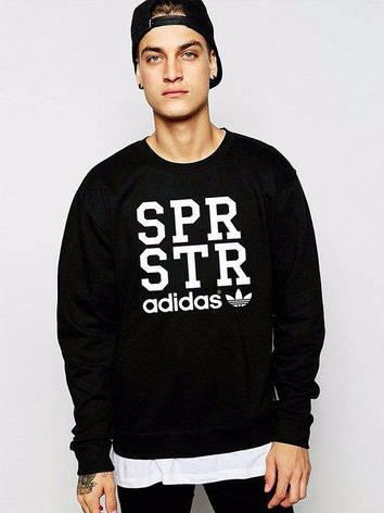 Чоловіча спортивна кофта (спортивний світшот) Adidas, Адідас, чорна (у стилі), фото 2