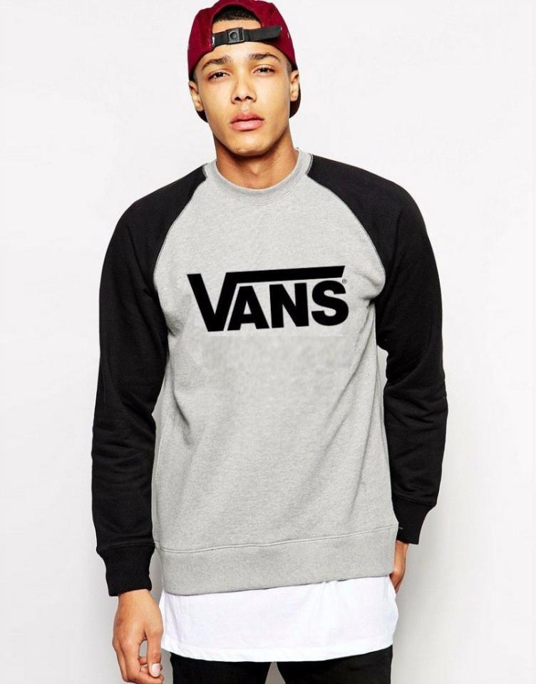 Чоловіча спортивна кофта (спортивний світшот) Vans, Ванс, сіро-чорна (у стилі)