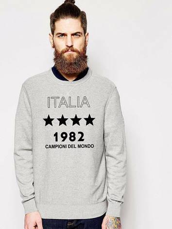 Мужская спортивная кофта (спортивный свитшот) Italia 1982, серая (в стиле), фото 2