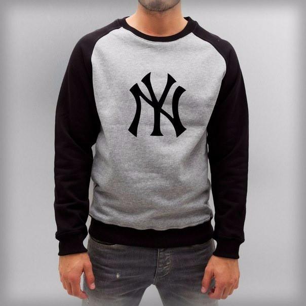 Мужская спортивная кофта (спортивный свитшот) NY, серо-черная (в стиле)