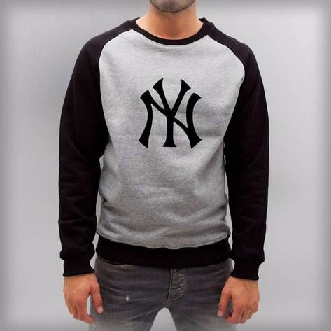 Мужская спортивная кофта (спортивный свитшот) NY, серо-черная (в стиле), фото 2