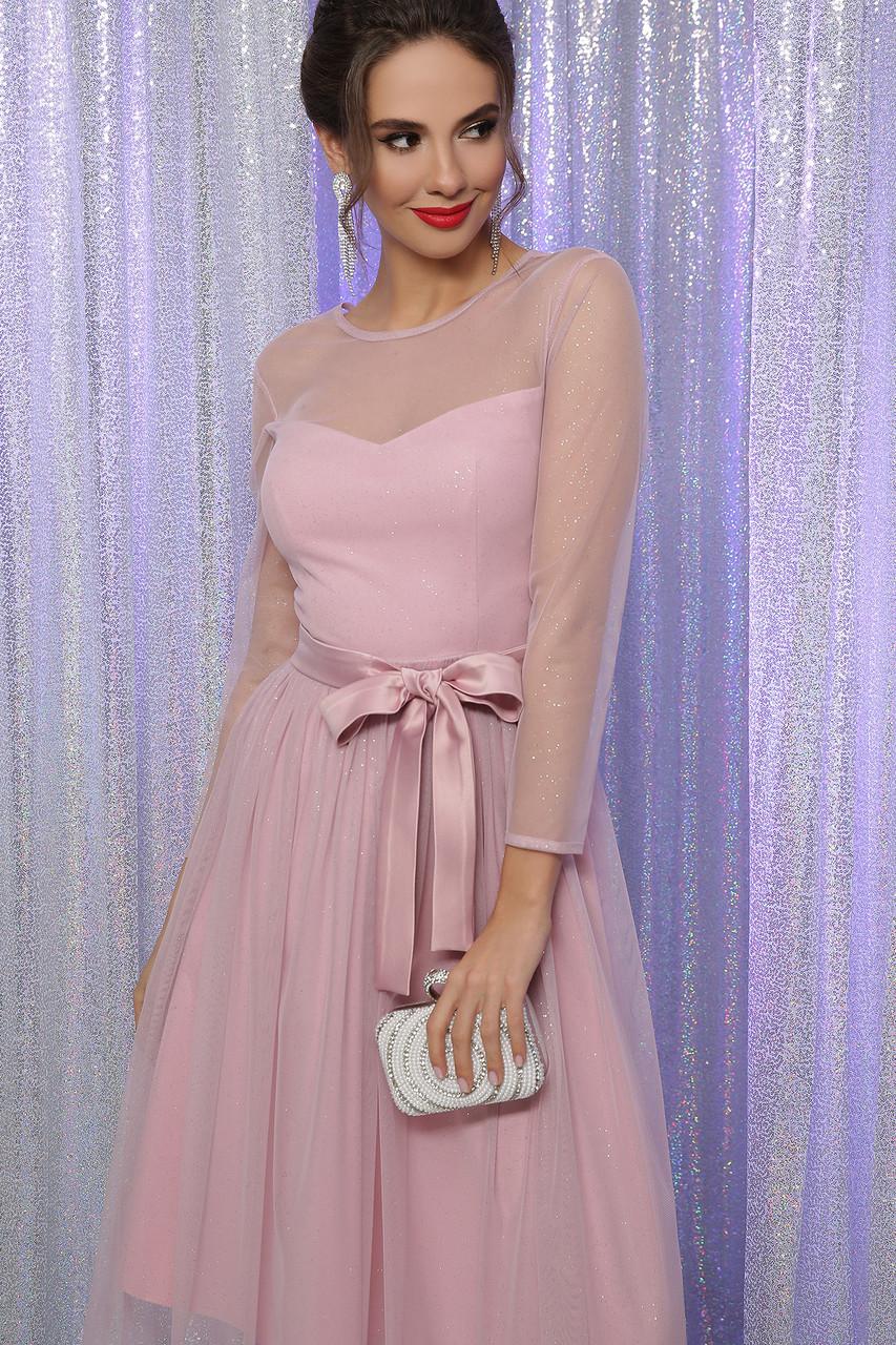 Красивое пудровое вечернее платье с люрексом 42,44,46,48 размер