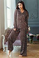 """Пижама женская шелковая в горошек """"МАРТИНА"""", шоколад"""