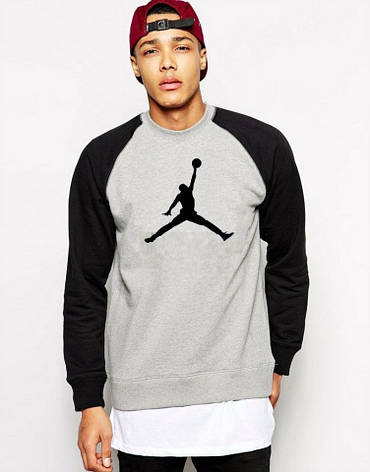 Чоловіча спортивна кофта (спортивний світшот) Jordan, Джордан, сіро-чорна (у стилі), фото 2