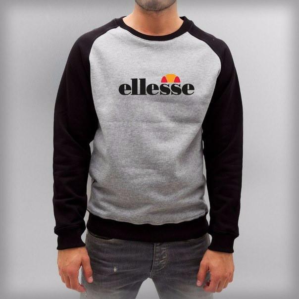 Мужская спортивная кофта (спортивный свитшот) Ellesse, серо-черная (в стиле)