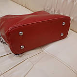 Молодежная красная женская сумочка из натуральной кожи, фото 6