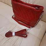Молодежная красная женская сумочка из натуральной кожи, фото 7