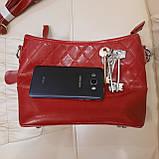 Молодежная красная женская сумочка из натуральной кожи, фото 8