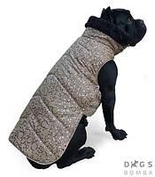 Попона Dogs Bomba зимняя для средних собак бежевая с серебряными узорами P-21/XS