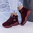 Ботинки женские зимние на утеплителе бордовые b-459, фото 5