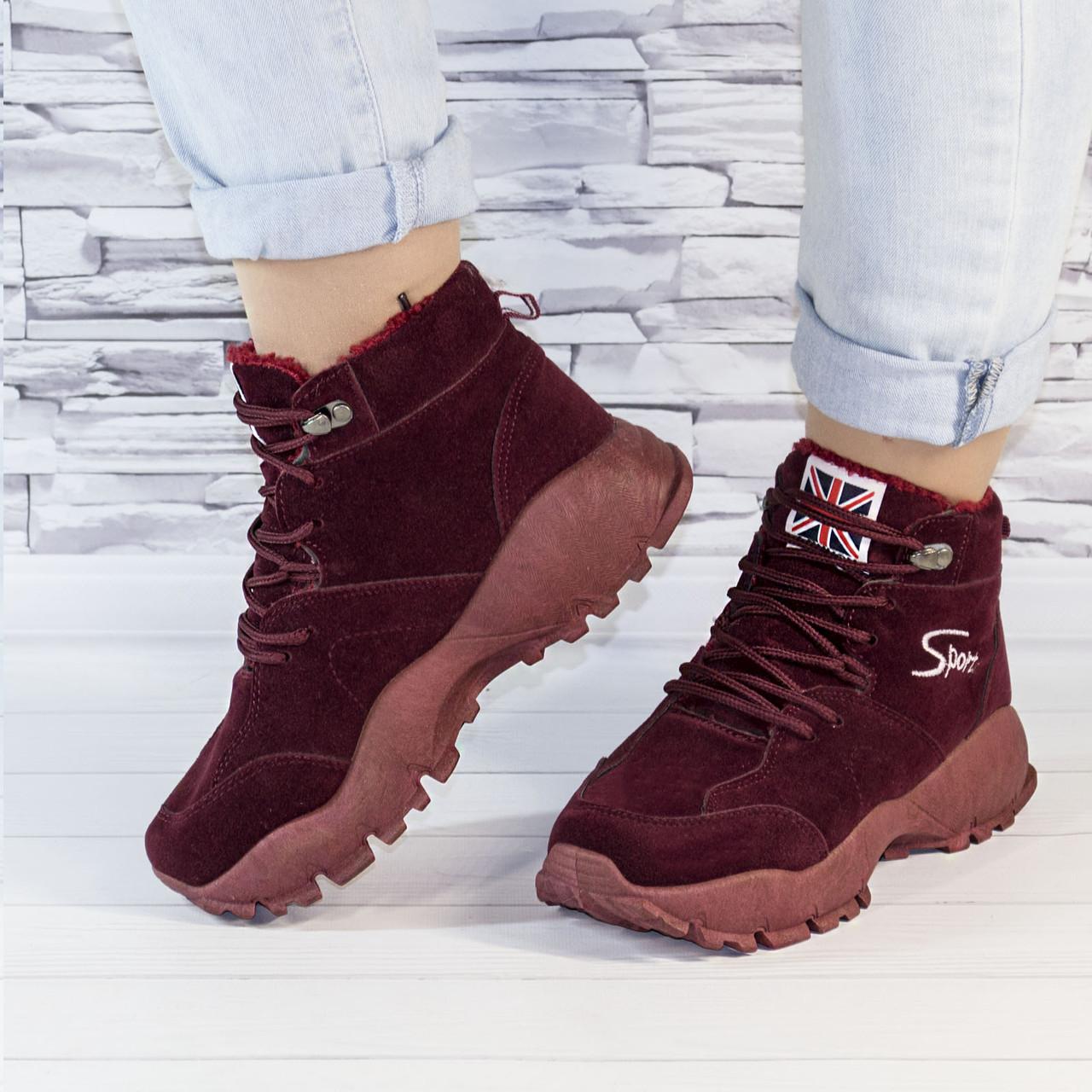 Ботинки женские зимние на утеплителе бордовые b-459