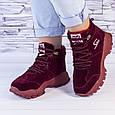 Ботинки женские зимние на утеплителе бордовые b-459, фото 6
