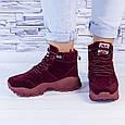Ботинки женские зимние на утеплителе бордовые b-459, фото 7