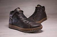 Зимние кожаные кроссовки на меху Diesel Pirate Brown, фото 1