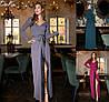 Р 42-56 Нарядное длинное платье на запах с бахромой Батал 23096-1