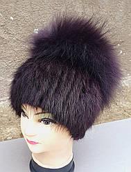 Женская меховая шапка Klaus Ондатра с Енотом 55-58см Баклажан