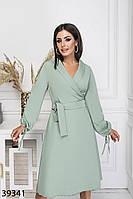 Повседневное женское платье на запах с поясом и длинными рукавами с 42 по 48 размер, фото 1