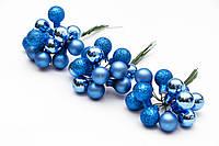 Набор елочных игрушек - веточки шаров, 3 шт, D1,5см, синий, стекло (390571-4)